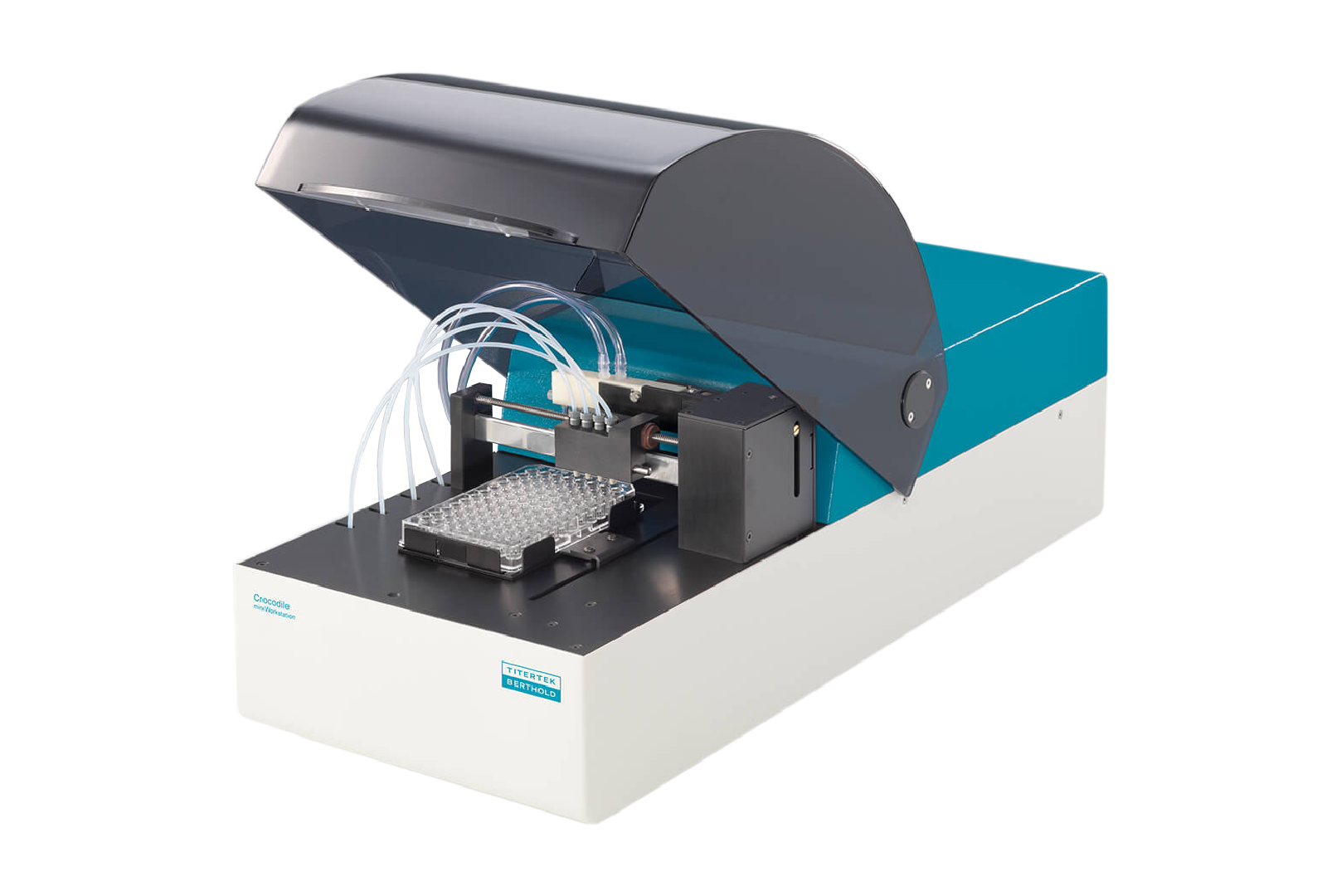 Personal workstation instrument to automate microplate assays to dispense, wash, shake and incubate.